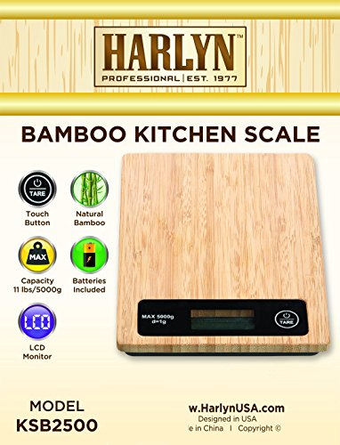 Best Bamboo Kitchen Scale - Top Digital Food Scale - Natural Bamboo Design, 11 LB Capacity, Tare Function, Backlight LCD, Auto Shutoff by Harlyn (cooking, baking, jewelry weight, portion control)