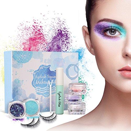 Augen Make Up Set, Luckyfine Eye Makeup Geschenkset 2 Paar falsche Wimpern, 5 Boxen mit...