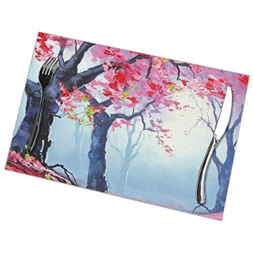 Rode Houten Lente Schilderij Behang Placemat Wasbaar Voor Keuken Diner Tafelmat, Makkelijk Te Reinig Makkelijk Te Vouwen Plaats Mat 12x18 Inch Set Van 6