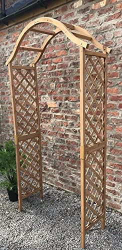 Ruddings Wood Wooden Garden Tan Arch - Wood Arbour Pergola Plant Support