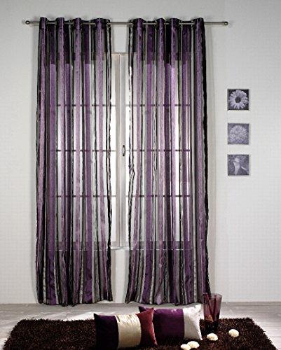 Rioma Cristina 07 - Cortina visillo con ollados, 140 x 270 cm, color morado