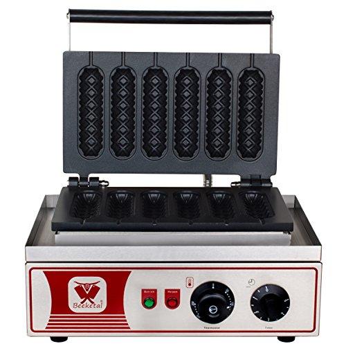 Beeketal \'BWA-9\' Profi Gastro Stiel Waffeleisen für Waffeln am Stiel mit antihaftbeschichteten Backplatten, Waffelautomat für 6 Stielwaffeln mit Edelstahl Gehäuse, 50-300 °C stufenlos
