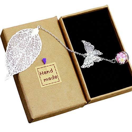 Toirxarn Metal Leaf Bookmark,with 3D Butterfly and Glass Beads Eternal Dry Flower Pendant. Ideal Gift for Reader, Woman and Kids.(Silver Leaves Pink White Flowers)