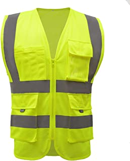 Medium High Visibility Yellow Safety Vests reflective mesh with pockets and zipper | hi vis clothing for men and women|construction workwear(M, Fluorescent yellow)