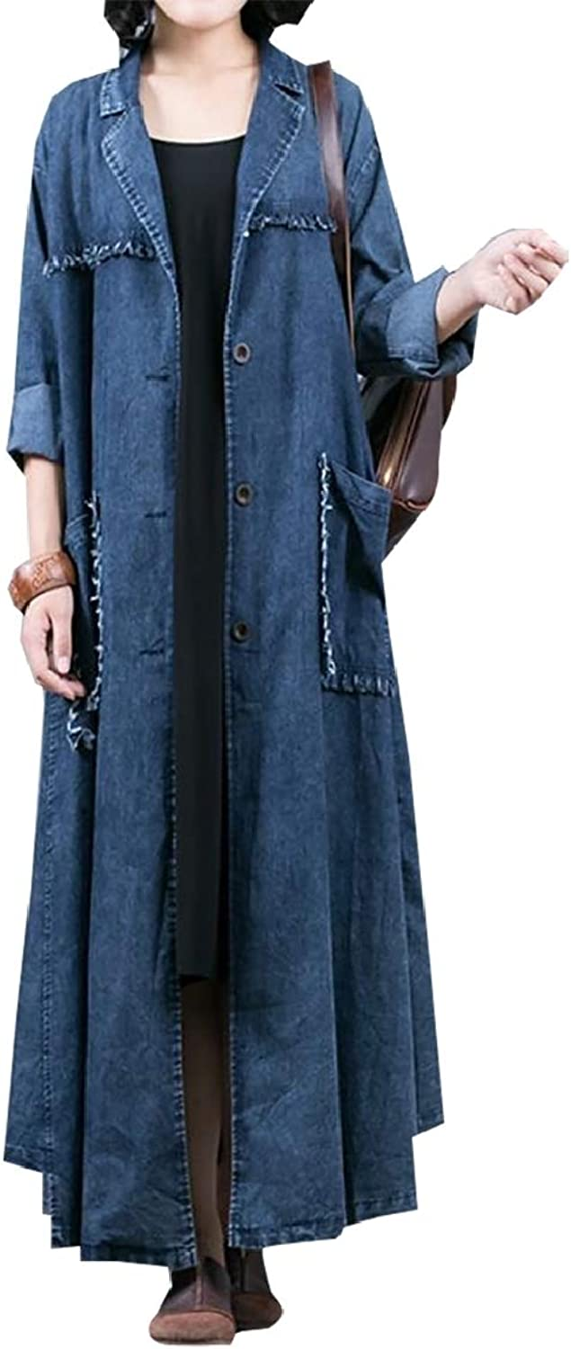 Sanderso Womens Casual Loose Denim Dress Lady Style Elegant Long Sleeve Outcoat