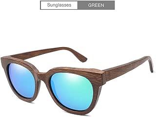 Songlin@yuan New Polarized Sunglasses Handmade Bamboo Classic Retro Sunglasses Full Bamboo Mirror mask Outdoor Driving Unisex (Color : Green)