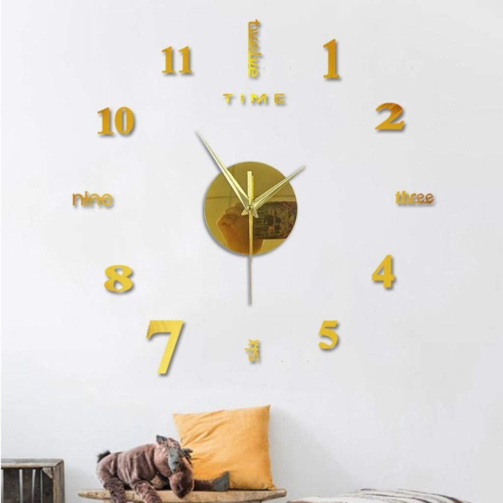 XVSSAA Frameless DIY Wall Clock Roman Numerals Clock Modern 3D Mirror Wall Clock Mirror Stickers Home Office Decor