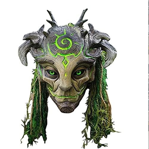 Zay Luay Máscara, máscara de Halloween Mascarilla Green Elf Hombre Viejo Latex Forest Headgear Party King Tipos Masquerade Props, Cosplay Disfraz