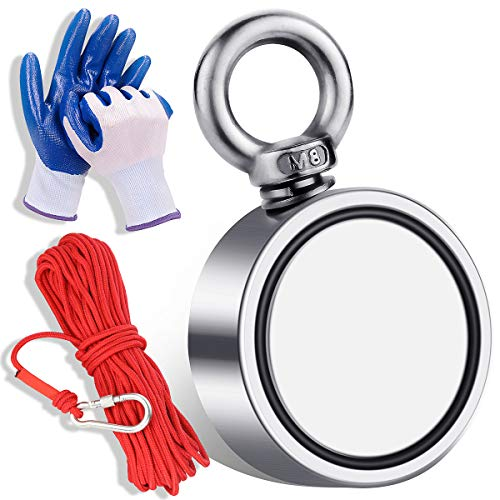 Magnet Fishing Kit with 660 lbs(300KG) Pulling Force Double Sided Neodymium Rare Earth Magnets with 20m (65 Foot) Durable Rope and Protective Gloves