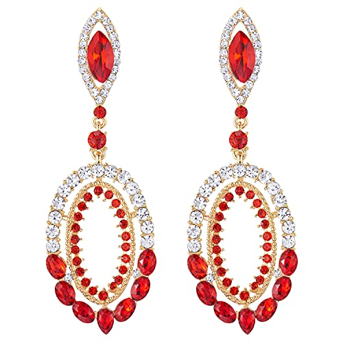 Prom Fiesta Vestir Victoriano Marquesa Rojo Cristal Rhinestones Cluster Oval Grande Oro Color Statement Pendientes