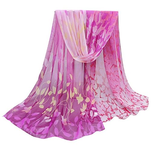 WOCACHI Damen Entwurf druckte weiche Chiffon Verpackungs Wraps Schals Tücher Halstücher Umschlagtücher Kopftücher (Violett)