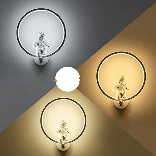 Creative Led moderne minimaliste mur de chevet chambre à coucher Lampe lumière escalier Couloir Couloir Art blanc lampe,35 * 30cm,19 Watts cartouche 3 couleurs gradateur de lumière