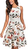 HOMEYEE Women's Sleeveless Cocktail A-Line Embroidery Party Summer Wedding Guest Dress A079(8,Off-White+Floral)