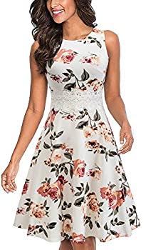 HOMEYEE Women s Sleeveless Cocktail A-Line Embroidery Party Summer Wedding Guest Dress A079 10,Off-White+Floral