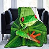 """Manta de Microfibra Manta de Tiro Búho de Colores Impreso Ultra Suave Ligero Acogedor cálido Manta de Microfibra difusa para Cama Sofá Sala de Estar Todas Las Estaciones-Rana verde-50 * 40"""""""