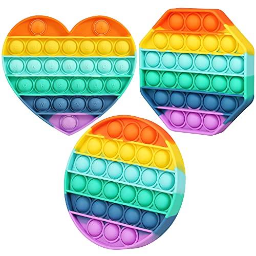 3 Pack Push Pop Fidget Toy - Rainbow Push Pop Bubble Anti Anxiety Sensory Toy - Bubble Pop Stress...