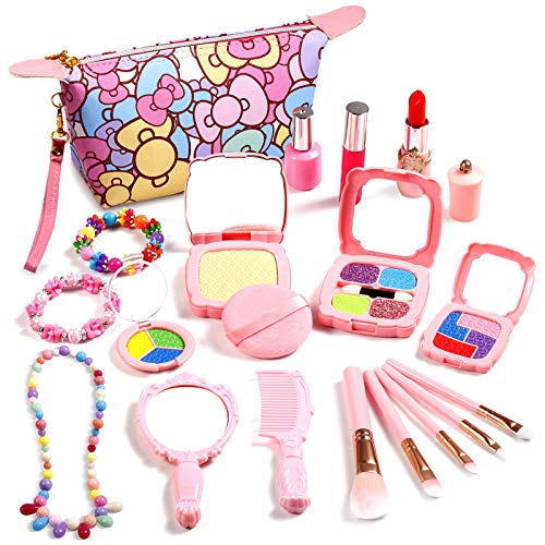 Biulotter Pretend Makeup Sets for Girls, Kids Pretend Play Makeup Kit with Cosmetic Bag for Kids Play Birthday Christmas (Not Real Makeup)