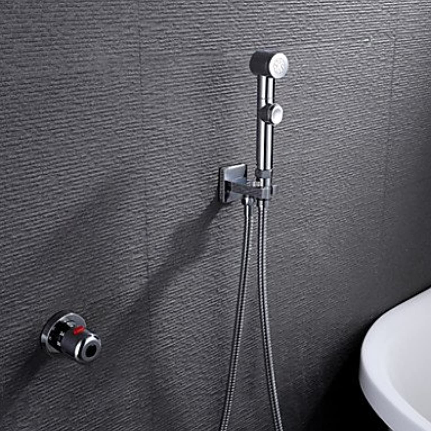 YAMEIJIA Contemporary Handshower Included Thermostatic Brass Valve Single Handle Two Holes Chrome, Shower Faucet