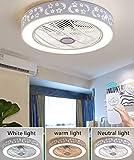 Ventilador De Techo LED con Mando A Distancia Regulable, Ventilador De Techo Silencioso, Lámpara De Techo Creativa para Habitación Infantil Moderna Iluminación para Salón O Dormitorio Blanco