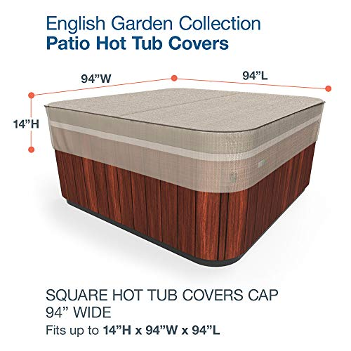 Budge P9A17PM1 English Garden Square Hot Tub Cover Heavy Duty and Waterproof, Large, Tan Tweed
