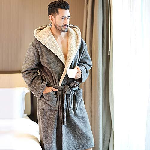 MUXIN Bata Gruesa Cálida de Invierno para Hombres, Larga Bata de baño con Capucha, Gris Ropa Dormir, Albornoz de Vellón para Hombre,L