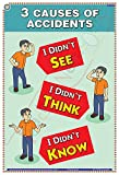 TeachingNest | 3 Causes of Accidents | English | 33x48 cm | Accidental Safety Poster | Industrial Safety Posters | Wall Sticking