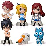 ZCCZ-AA 6 Pcs Anime Fairy Tail Mini Figure Statue Action Figure Collectible Toy Room Decoration