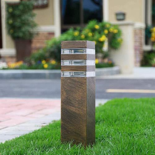 Mastleuchte Außenlampe Bronze Aluminium Pollerlampe Outdoor Wegeleuchte Außen Sockellampe E27-Fassung Gartenlampe Hoflampe Rasen Pfad-Beleuchtung, 13 * 13 * 40CM