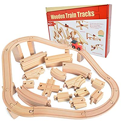 62 Pieces Wooden Train Track Expansion Set + 1 Bonus Toy Train -- NEW Version Compatible with All Major Brands Including Thomas Battery Operated Motorized Ones by Joyin Toy from Joyin Inc