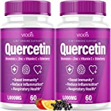 (2 Pack) Quercetin with Bromelain Vitamin C Zinc Elderberry 1000mg Immune System Booster, Lung Support Supplement for Adults Kids - Immunity Defense (120 Capsules)