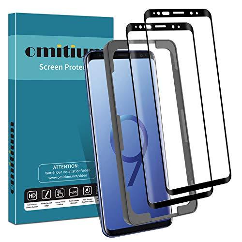 omitium Pellicola Vetro Temperato per Samsung Galaxy S9, [2 Pezzi] Pellicola Protettiva Samsung Galaxy S9 [Cornice di Allineamento] 9H Durezza Protezione Schermo Samsung Galaxy S9