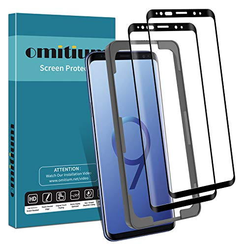 omitium Couverture Maximale Verre Trempé pour Samsung Galaxy S9, [2 Pièces] Galaxy S9 Protecteur D'écran [avec Cadre d'Alignement] Anti Rayures 9H Dureté Film Protection Écran Samsung S9 vitre