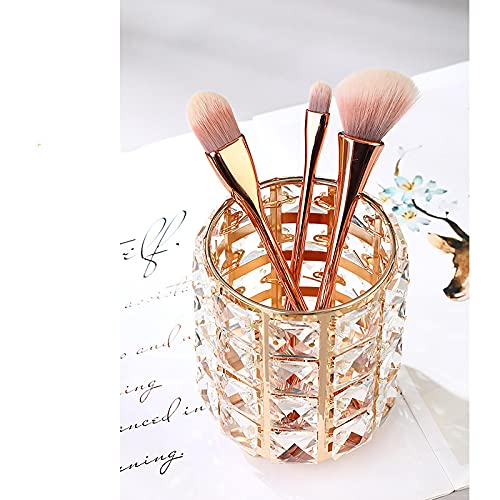 Hecho a mano de cristal maquillaje cepillo titular de la ceja lápiz pluma Copa colección cosmética almacenamiento organizador 11.5* 9.8Cm/11.8* 9.8Cm Goldround