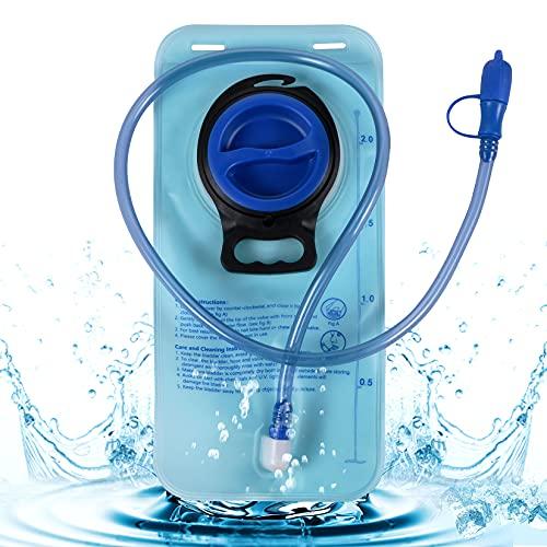 FGen Bolsa Hidratacion, Bolsas de Agua para Mochilas 2 L, Mochila de Hidratación Portátil, Sistema de Hidratación, para Ciclismo, Camping, Senderismo, Escalada (Azul)