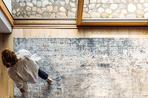RugVista, Ritz, Fait à la Machine, Tapis, Moderne, Longue Pile, 120 x 180 cm, Rectangle, Oeko-Tex Standard 100, Polyester, Couloir, Chambre, Cuisine, Salon, Gris Clair Beige