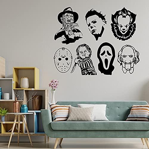 Usmnxo Pegatina de Pared con Cabeza de Demonio de Halloween, póster de Vinilo extraíble para Sala de Estar, decoración de Fiesta en casa, calcomanía 139x110cm