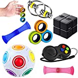 Sensory Fidget Toys Set 7 Pack. Stress Relief and Anti-Anxiety Tools Bundle with Fidget Pad, Flippy Chain, Infinity Cube, Fingears Magnetic Rings and More, Fidgeting Game for Kids and Adults Kill Time