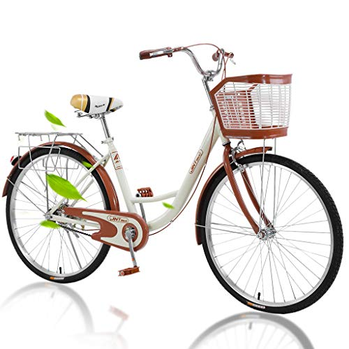 2020 New Comfort Bikes Beach Cruiser Bike, Single Speed Bicycle 26-Inch Comfortable Commuter Bicycle High-Carbon Steel Frame, Front Basket & Rear Racks Retro Bicycle Road Bikes for Women Beige