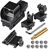 Feyachi Reflex Sight Red & Green Dot Gun Sight Scope with Flip Up Rear Front Iron Sights and Bore Sight .223 Rem 5.56mm NATO Red Laser Boresighter