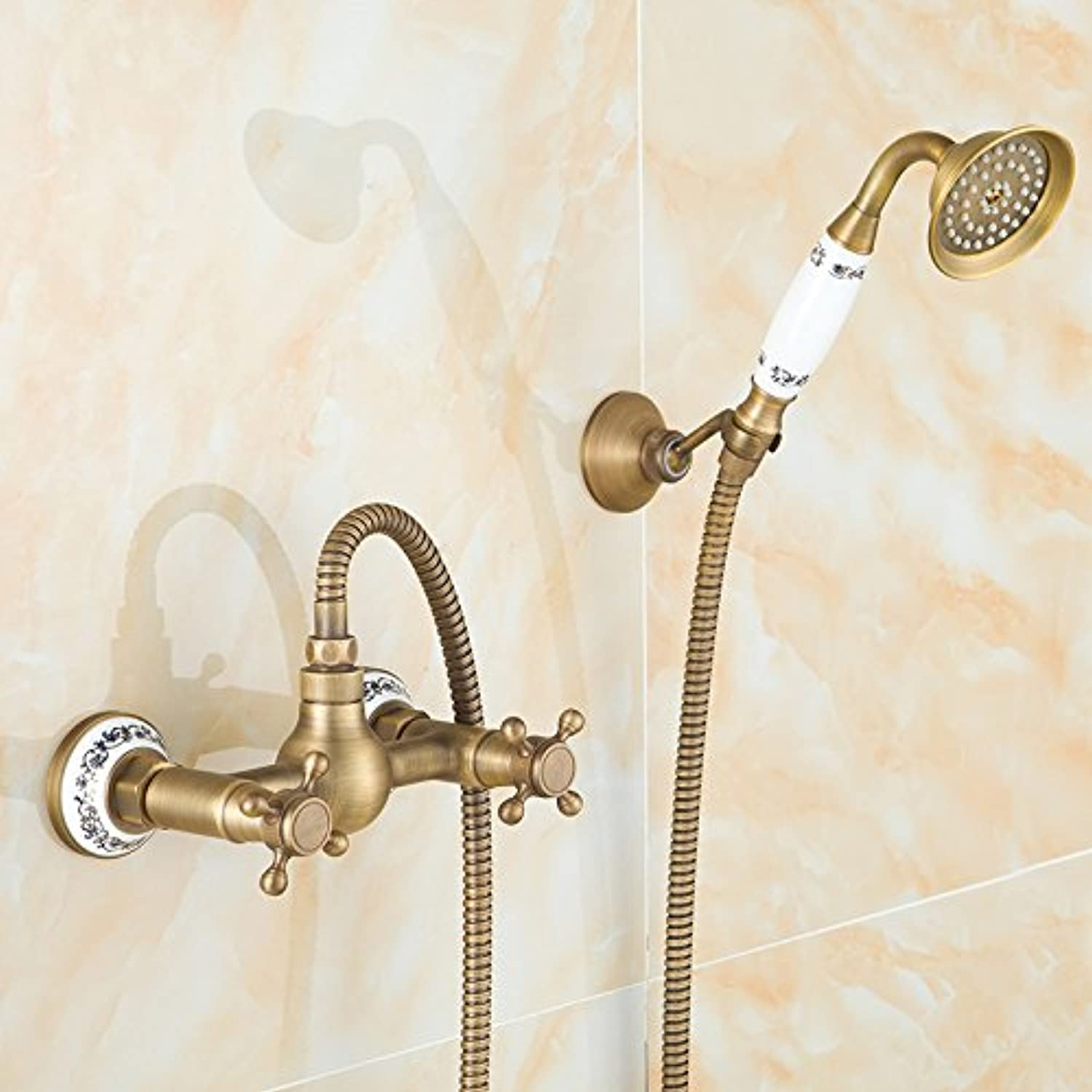 Tourmeler All Bronze Retro Drawing Copper Into The Wall bluee And White Porcelain Hand Shower Shower Wall Hanging Simple Shower Set