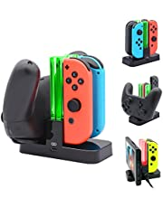 FastSnail Controller Charger for Nintendo Switch, Pro Controller and Joy-con Charging Dock for Nintendo Switch with Charging Indicator and Type C Charging Cable (Green)