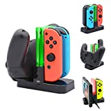 FastSnail Controller Charger Compatible with Nintendo Switch, Charging Dock Stand Station Compatible with Switch Joy-con and Pro Controller with Charging Indicator and Type C Charging Cable