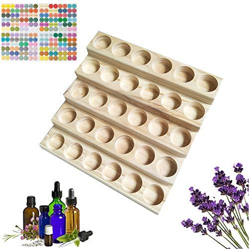 MKNZOME 30 Ranuras Caja de Aceite Esencial - Exhibición Cosmética de Madera Natural Aceite Contenedor Estante de Presentación Ideal para Perfume y Aceite Perfumado y Esmalte de Uñas#4