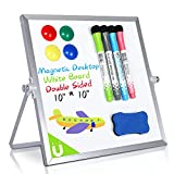 Magnetic Desktop Dry Erase White Board, 10'X10'- Double Side Small Magnetic White Board with Stand for Kids/Student, 4 Markers, 4 Magnets & Eraser, Portable/Foldable Whiteboard for Home/School/Office
