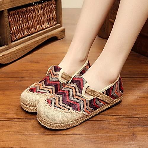 GaYouny Zapatos Bordados Bordado Hecho A Mano para Mujer Ropa De Algodón De Lino Casual Resbalones En Lienzo para Damas Zapatos Planos para Caminar Arcoiris (Color : Brown, Size : 36 EU)