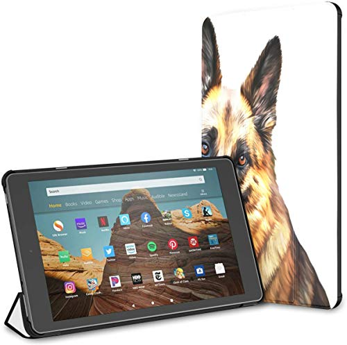 Kindle Case Pu Leather Smart Cover Drawing Dog German Shepherd Dog Tablet Cover Kindle Fire Hd 10 Inch Tablet Case(9th Gen 2019/7th Gen 2017) with Auto Wake/Sleep