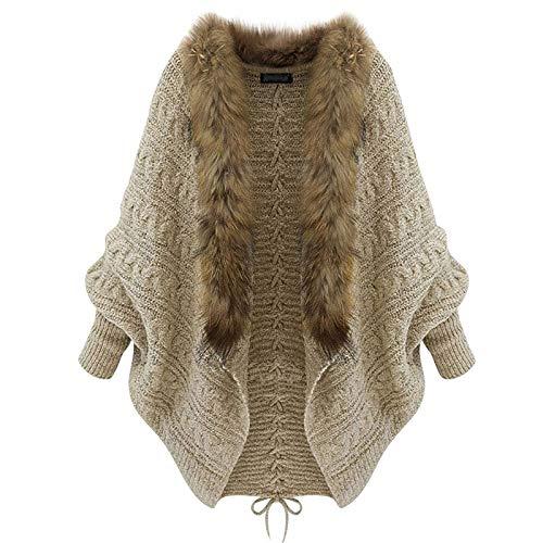 Donasty Strickjacke Damen Grobstrick Strickmantel strickcardigan Damen Herbst Winter Casual Open Front Sweater Oversized Cardigan Poncho Up Patchwork Outwear