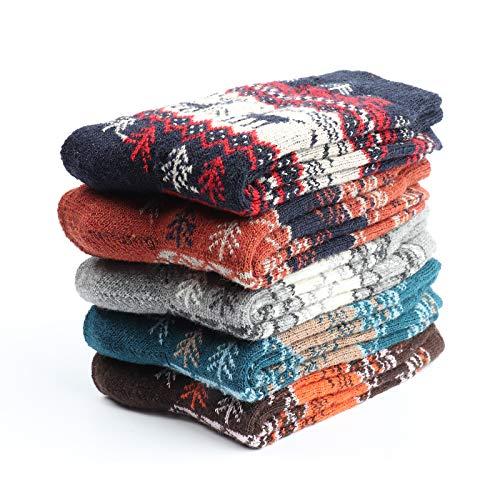 Comius Sharp 5 paia di calzini di lana Calzini invernali termici spessi per uomo Donna Albero di Natale Stile alce