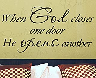 Diuangfoong When God Closes One Door He Opens Another Inspirational Home Religious God Bible Vinyl Wall Decal Lettering Quote Decor Sticker Art