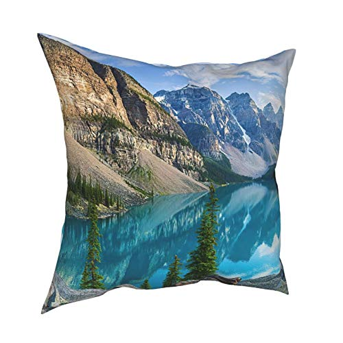 WAZHIJIA Lakeside Scenery Decorative Throw Pillow Covers 18 X 18 Inch,Beautiful Mountain Lake Cushion Cover Square Pillow Cases for Car Sofa Home Decor